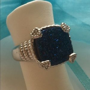 Jewelry - NEW Blue Druzy Quartz & Diamond Ring .925 Silver